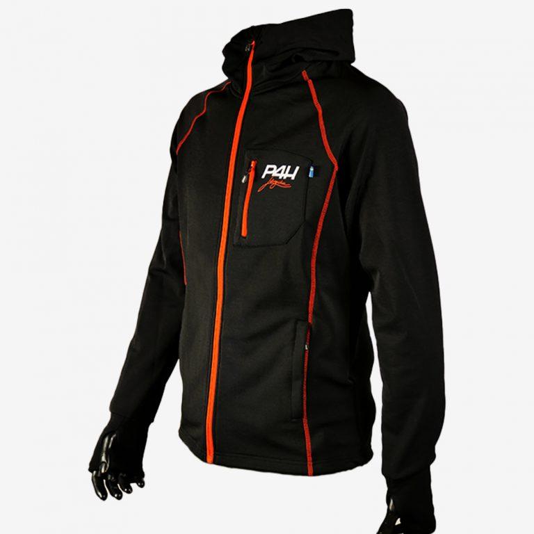 P4H Powerfleece Hood Jacket Black, Herr