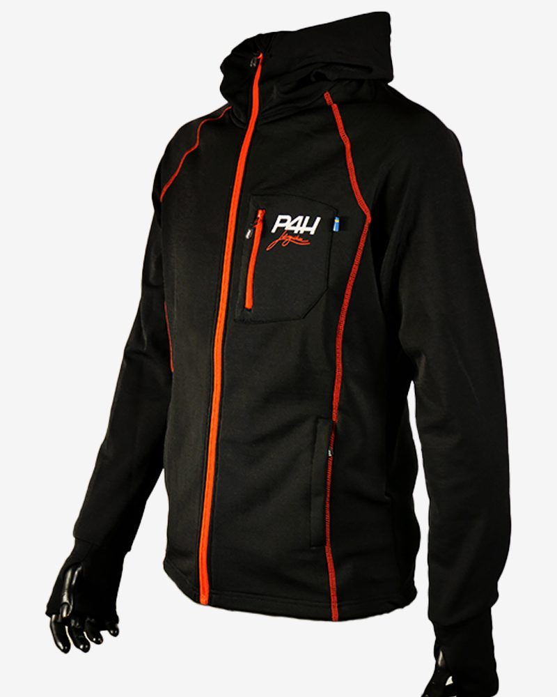 P4H Powerfleece Hood Jacket Black, Herr