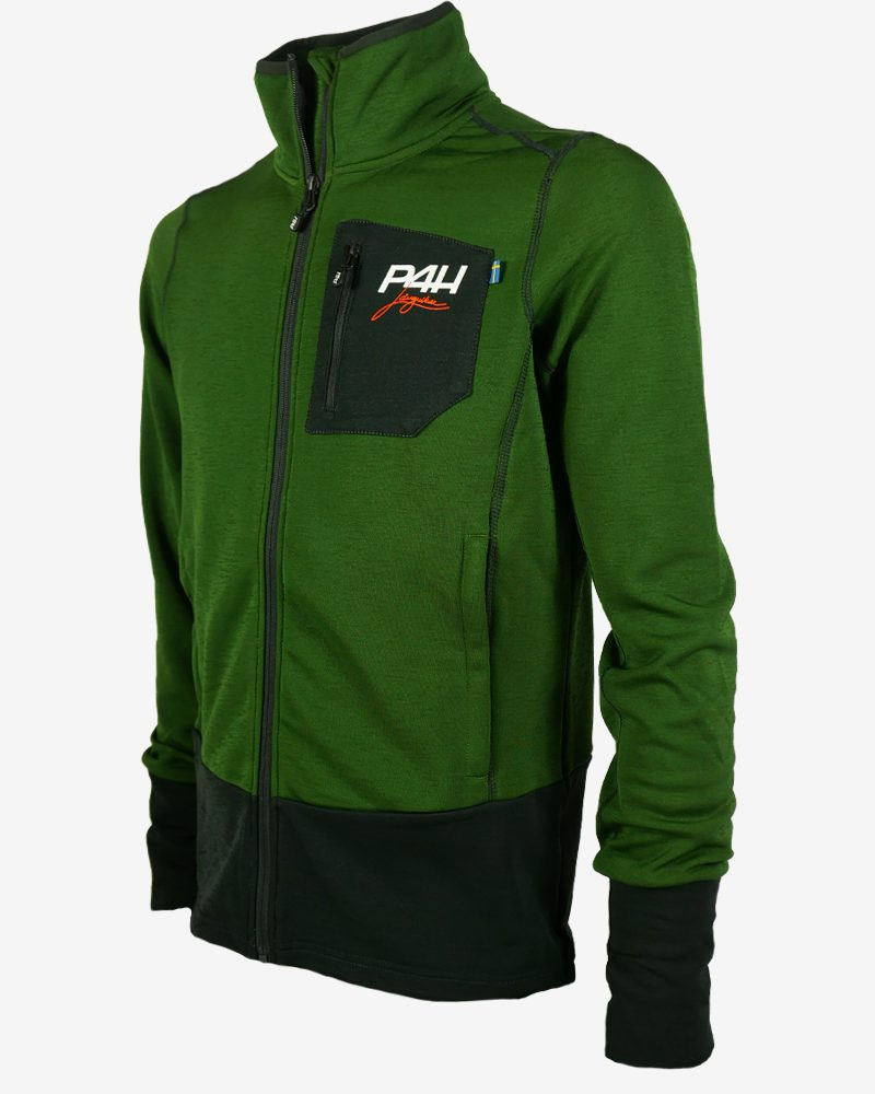 p4h powerfleece jacket green comb, herr