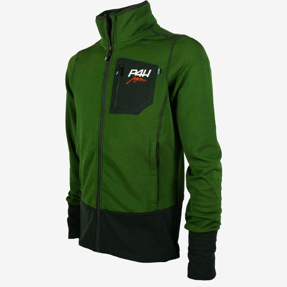 p4h powerfleece jacket green comb, herr