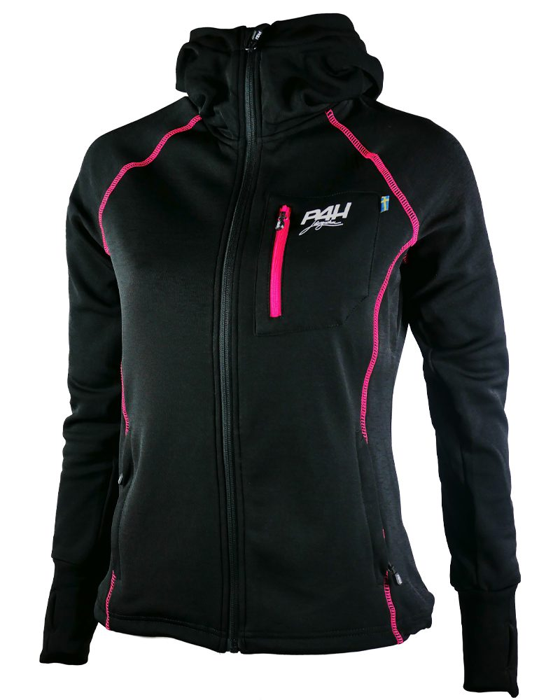 p4h superfleece hood jacket black/pink, dam