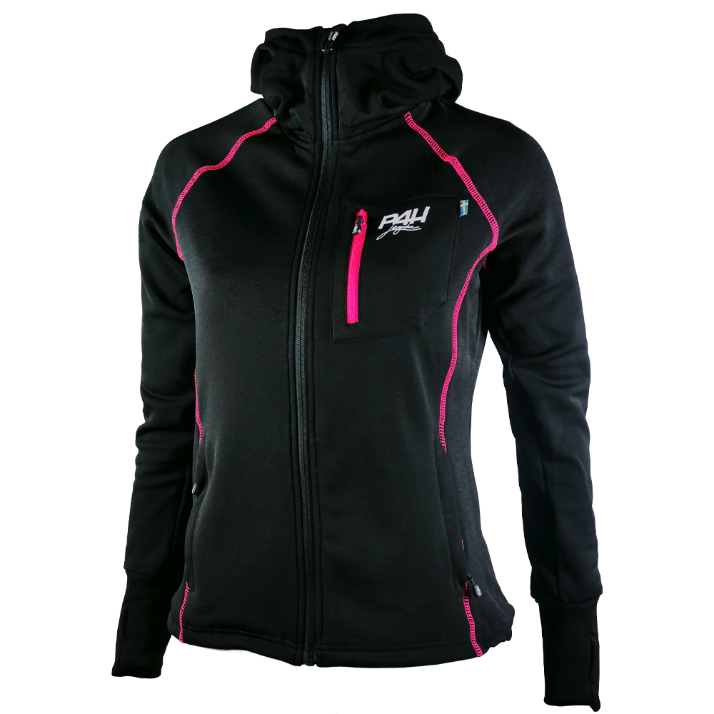 P4H Powerfleece Hood Jacket Black/Pink, Dam