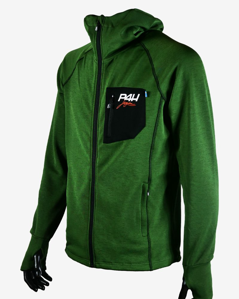 p4h superfleece hood jacket green, herr