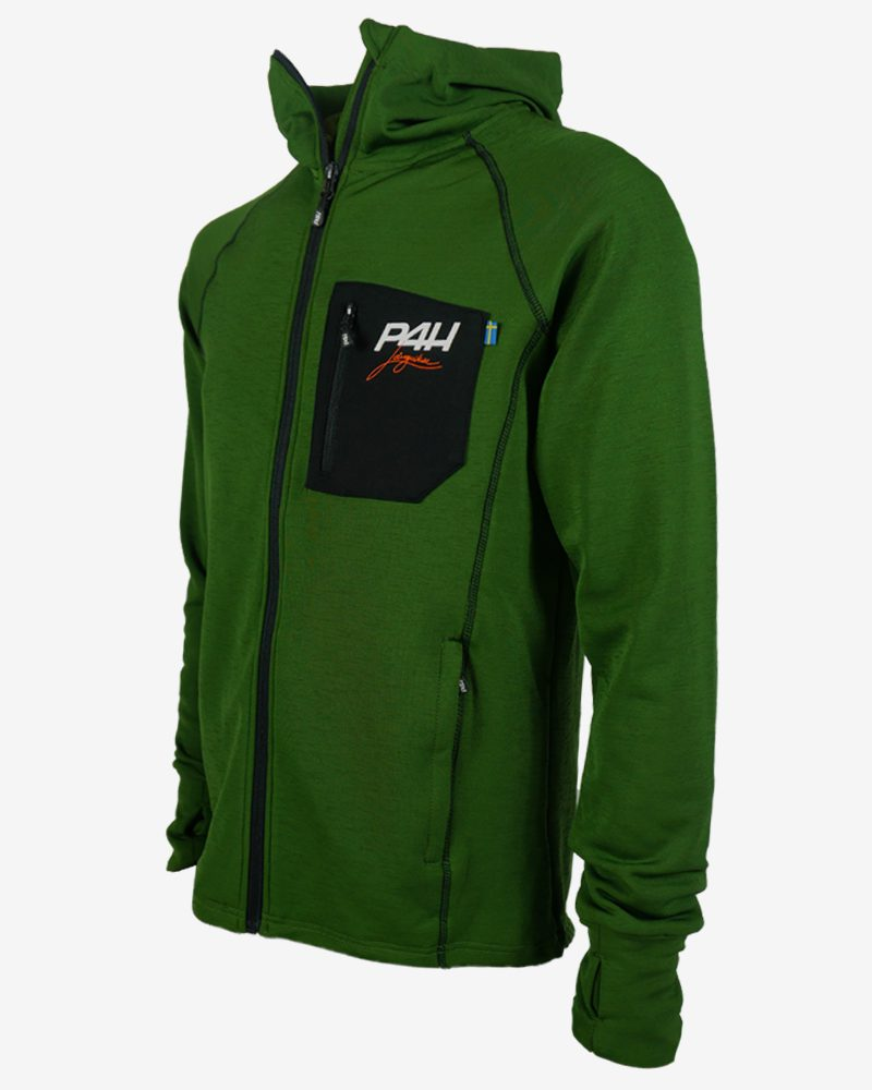 p4h powerfleece hood jacket green, herr