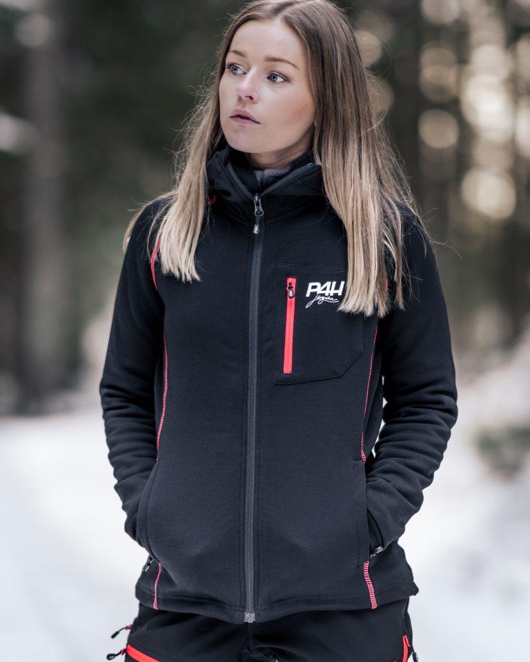 P4H Powerfleece Hood Jacket Black/Pink, Dam